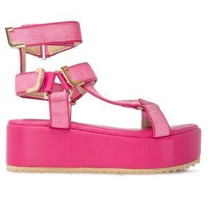 Women's Ankle T-Strap Pink Platform Espadrilles